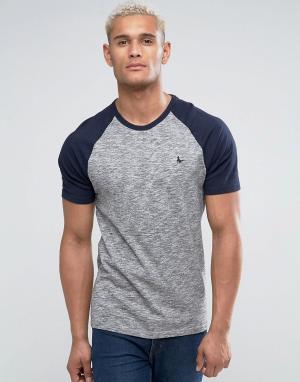 Jack Wills Серая меланжевая футболка с рукавами реглан. Цвет: серый