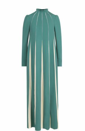 Платье-макси с длинным рукавом и воротником-стойкой Valentino. Цвет: зеленый