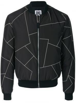 Куртка-бомбер с геометрическим принтом Les Hommes Urban. Цвет: чёрный