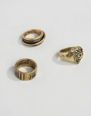 Icon Brand Набор из 3 золотистых колец. Цвет: золотой