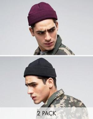 ASOS Набор из 2 шапок-бини мини в рыбацком стиле (черный/фиолетовый) -. Цвет: мульти
