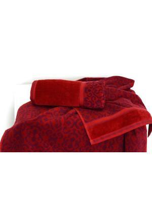 Набор махровых полотенец ФЛОРА бордовый (50*90+70*140) TOALLA. Цвет: бордовый