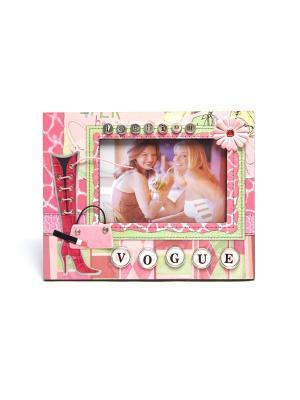 Фоторамка декорированная HomeMaster. Цвет: красный, розовый, белый