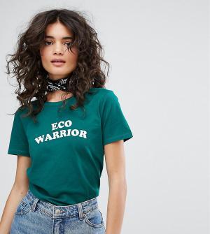 People Tree Футболка из органического хлопка с надписью Eco Warrior. Цвет: зеленый