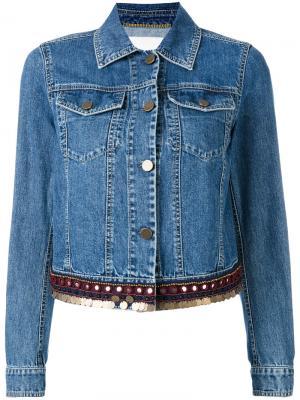 Джинсовая куртка с отделкой Bazar Deluxe. Цвет: none