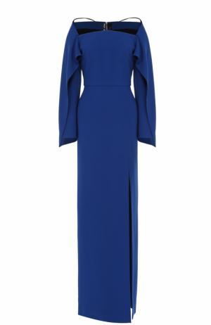 Платье-макси с декорированными рукавами Roland Mouret. Цвет: синий