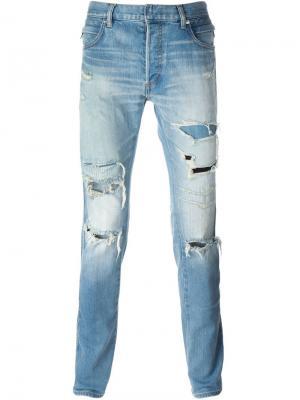 Байкерские джинсы кроя скинни Balmain. Цвет: синий