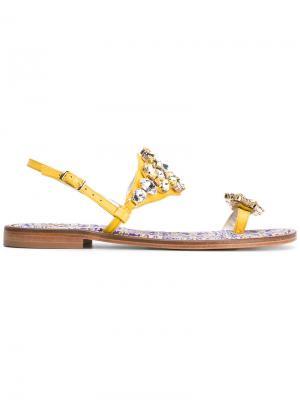 Декорированные сандалии Emanuela Caruso. Цвет: жёлтый и оранжевый