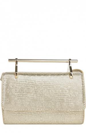 Клатч Mini Fabricca из тисненой кожи M2Malletier. Цвет: золотой