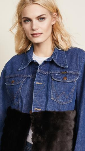 Denim Jacket with Faux Mink Harvey Faircloth
