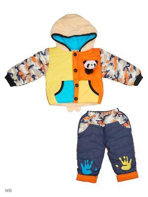 Куртка и брюки на синтепоне Happy Bear. Цвет: желтый, оранжевый, синий