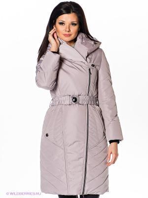 Пальто Alisa Line. Цвет: светло-серый, светло-бежевый