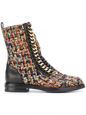 Твидовые ботинки в военном стиле Casadei. Цвет: многоцветный