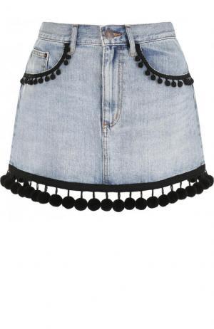Джинсовая мини-юбка с потертостями Marc Jacobs. Цвет: голубой