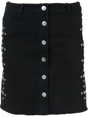 Мини-юбка с заклепками Beau Souci. Цвет: чёрный