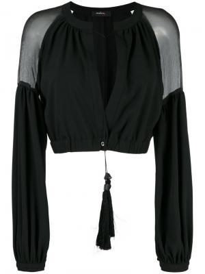 Укороченный пиджак с прозрачными панелями Wandering. Цвет: чёрный