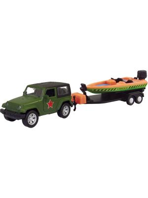 Машина USA ALLROAD 4WD с катером, армейская 1:36 AUTOTIME. Цвет: зеленый