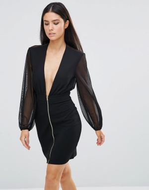 Rare Платье мини с декольте и молнией. Цвет: черный