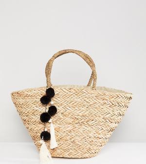 South Beach Соломенная пляжная сумка с черными и белыми помпонами. Цвет: бежевый