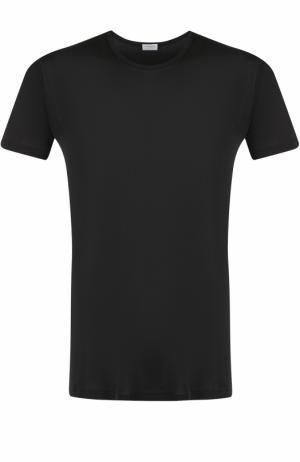 Шелковая футболка с круглым вырезом Zimmerli. Цвет: черный