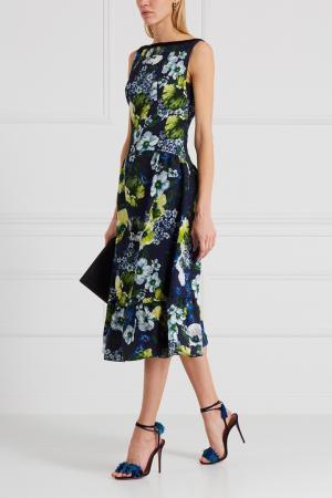 Жаккардовое платье Heta Erdem. Цвет: синий, зеленый