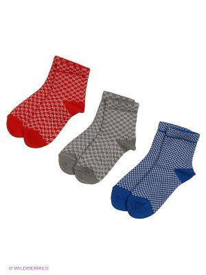 Носки - 3 пары Гамма. Цвет: серый, красный