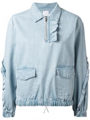 Джинсовая блузка с бахромой Sjyp. Цвет: синий