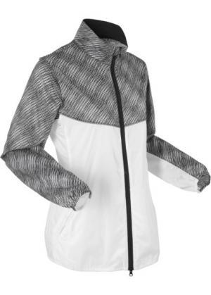 Спортивная куртка с длинным рукавом (белый рисунком) bonprix. Цвет: белый с рисунком