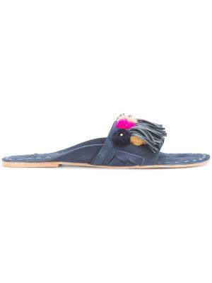 Сандалии с вышивкой Figue. Цвет: синий