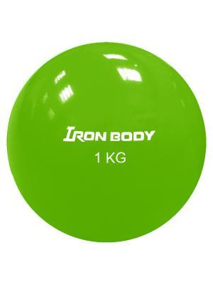 Медбол, 1 кг Iron Body. Цвет: светло-зеленый