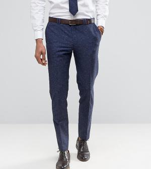 Noak Узкие свадебные брюки из ткани с добавлением льна в крапинку. Цвет: темно-синий