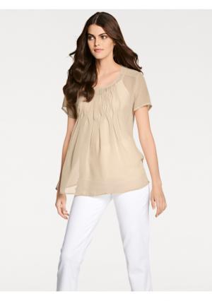 Комплект: блузка + топ PATRIZIA DINI by Heine. Цвет: песочный