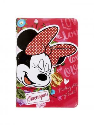 Обложка для паспорта Love, Минни Маус Disney. Цвет: красный, белый, черный, оливковый, бронзовый