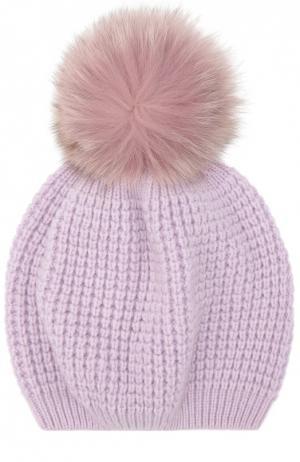 Кашемировая шапка с помпоном из меха енота Kashja` Cashmere. Цвет: фиолетовый