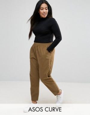 ASOS Curve Суженные книзу выбеленные брюки-галифе. Цвет: коричневый