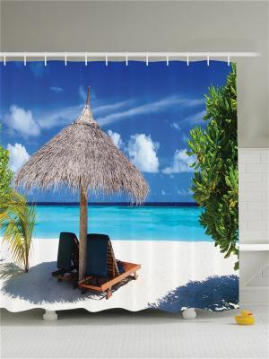 Фотоштора для ванной Жаркое солнце, 180*200 см Magic Lady. Цвет: голубой, черный, синий, зеленый, морская волна, серый