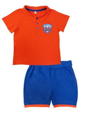 Комплект (футболка короткий рукав + шорты), Веселый Зоопарк Soni kids. Цвет: оранжевый, синий