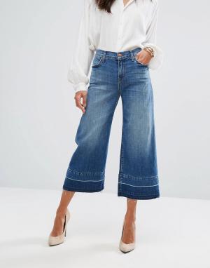J Brand Широкие укороченные джинсы с классической талией и необработанными кра. Цвет: синий