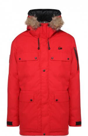 Пуховая парка POLUS с меховой отделкой капюшона Arctic Explorer. Цвет: красный
