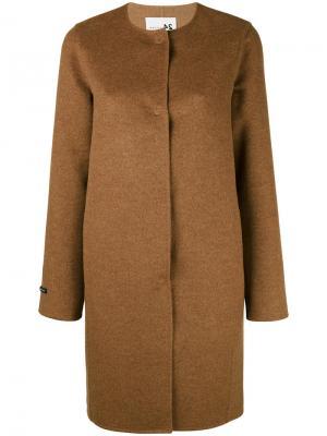Однобортное пальто без воротника Manzoni 24. Цвет: коричневый