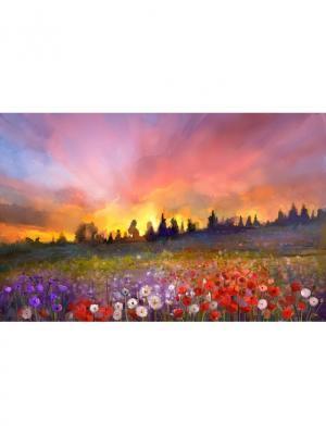 Картина поляна цветов закат Ecoramka. Цвет: сливовый, бронзовый, коричневый