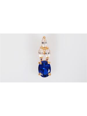 Кулон шпинель кабошон в цирконах Lotus Jewelry. Цвет: синий