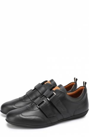 Кожаные кроссовки с застежкой велькро Bally. Цвет: черный
