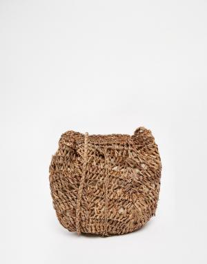 Buji Baja Небольшая сумка из рафии на плечо. Цвет: серо-коричневый