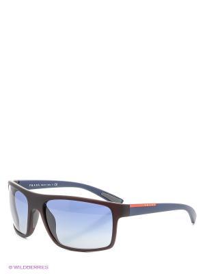 Очки солнцезащитные Prada Linea Rossa. Цвет: коричневый, синий