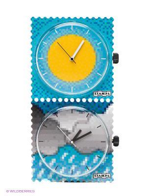 Часы S.T.A.M.P.S.. Цвет: голубой, желтый, серый
