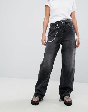 Cheap Monday Широкие джинсы в стиле 90-х с цепочкой. Цвет: черный