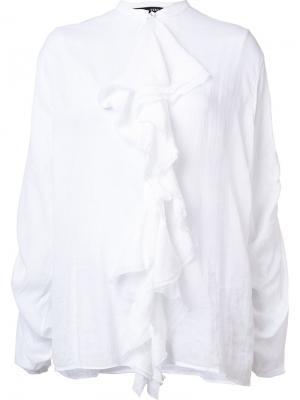 Блузка с присборенной отделкой и рюшами Isabel Benenato. Цвет: белый