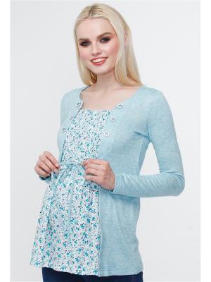 Блузон-обманка TUTTA MAMA. Цвет: светло-голубой,белый,синий,зеленый