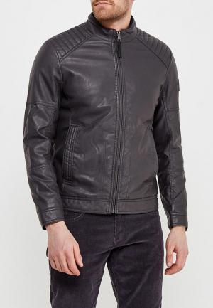 Куртка кожаная Tom Tailor. Цвет: серый
